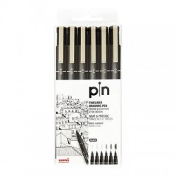 Uni Pin estuche Fineliner drawing pen x6